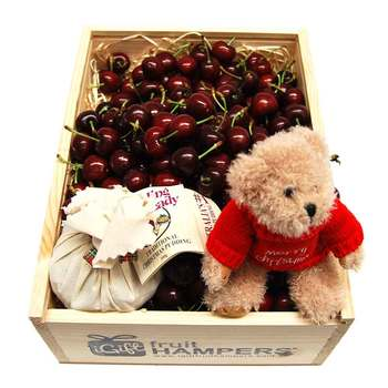 Cherry Gift + Christmas Pudding + Merry Xmas Message Bear