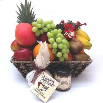 Fruit Basket + The Pudding Lady Christmas Pudding with Brandy Sauce + Free Shipping