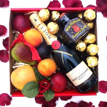 Moet Chandon Piccolo Gift + Wild Hibiscus Flowers + Chocolates