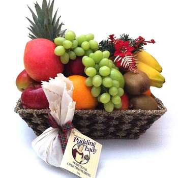 Fruit Basket + The Pudding Lady Christmas Pudding + Free Shipping